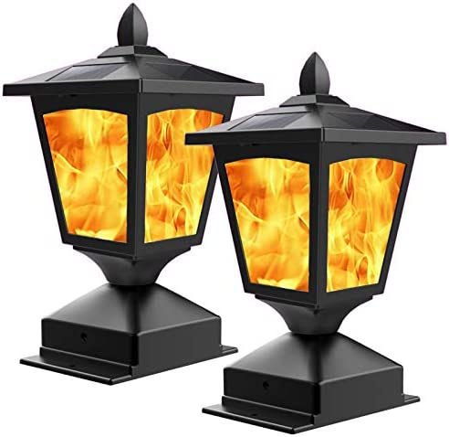 Solar Post Light Outdoor Post Cap Light Flickering Flame Light for Fence 4 x 4 Led Waterproof product image
