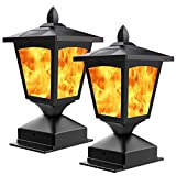 Solar Post Light,Outdoor Post Cap Light Flickering Flame Light for Fence, 4 x 4 LED Waterp...