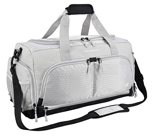 "Ultimate Gym Bag 2.0: The Durable Crowdsource Designed Duffel Bag with 10 Optimal Compartments Including Water Resistant Pouch (Silver, Medium (20""))"