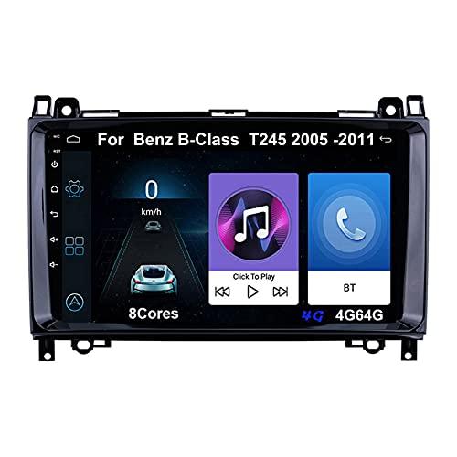 Autoradio Android Car Radio Stereo 9 Pulgadas Pantalla Táctil Para Mercedes Benz B-Class B Class T245 2005-2011 Conecta Y Reproduce Cámara De Respaldo Estéreo De Coche (Color : 8Cores 4G 4G64G)