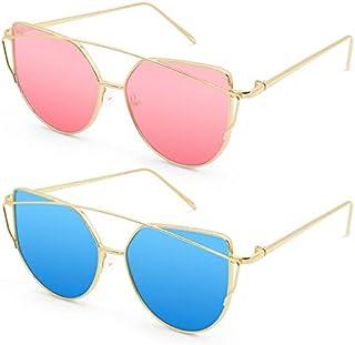 Livhò Sunglasses for Women, Cat Eye Mirrored Flat Lenses...