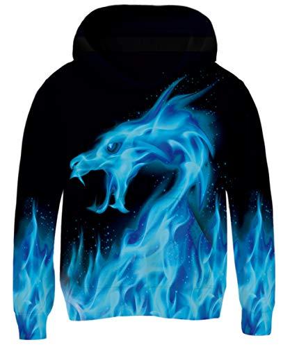 AIDEAONE Jugend Teenager Hoodie 3D Hooded Sweatshirt Blau 8-11 Jahre