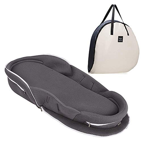【ベビーアムール】Bebamour ベビーベッド 折りたたみ式 ベッドインベッド 添い寝 簡易ベッド 新生児 携帯型ベビーベッド 通気性抜群 高さ調整可 機械洗い(グレー)