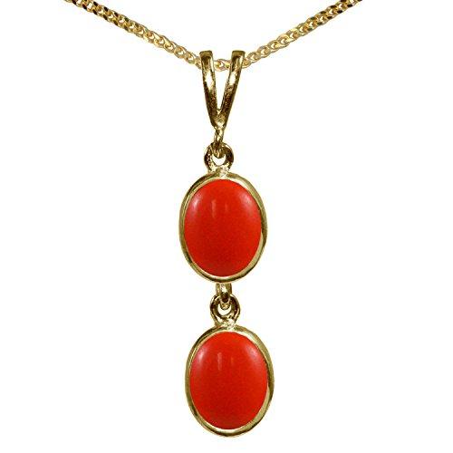 BJC® 9ct oro Amarillo Natural Peach Coral doble Drop Oval Colgante Solitario...
