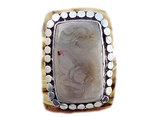 The Best Jewellery Crazy Lace Agate Ring, Silver Plated Ring, Handmade Ring, Women Jewelry, (Size- 7 USA) BRS-9862