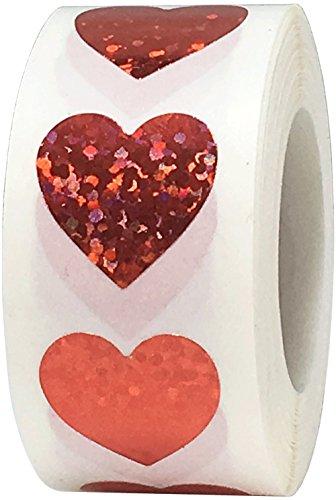 Rote Funkelnde Herz Aufkleber, 13 mm 1/2 Zoll Valentinstag Glänzende Holografische Etiketten 1000 Packung