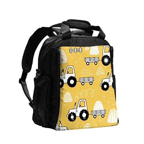 Ausgefallene Wickeltasche Rucksack Cartoon niedlich kindlich lustig Traktor große Kapazität Wickeltasche Rucksack Multifunktions-Reiserucksack mit Windel Wickelunterlage für die Babypflege