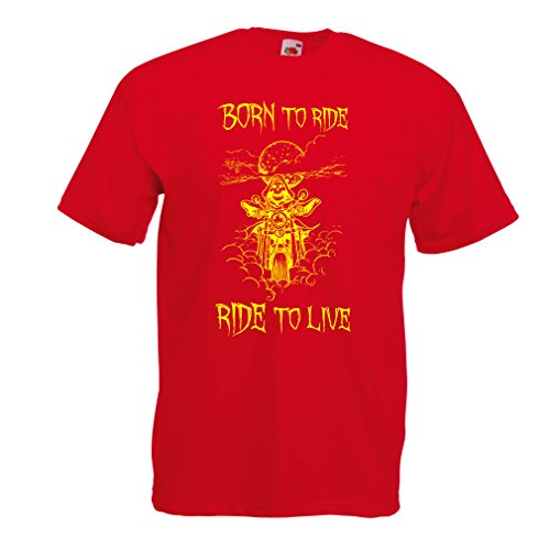 N4690 Männer T-Shirt Born to Ride! Motorcycle Clothing (X-Large Rot Mehrfarben)