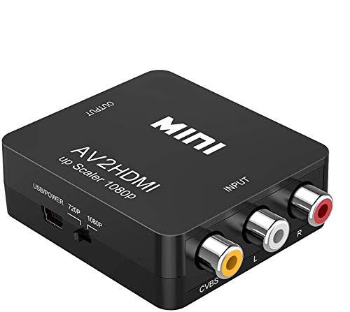 GLER RCA zu HDMI Konverter, 1080P Mini RCA Composite CVBS AV zu HDMI Video Audio Adapter, Unterstützt PAL/NTSC mit USB-Kabel für TV/Laptop/PC/PS3/PS2/Wii/Blue-Ray/STB/Xbox VHS/VCR/HDTV/DVD(Schwarz)
