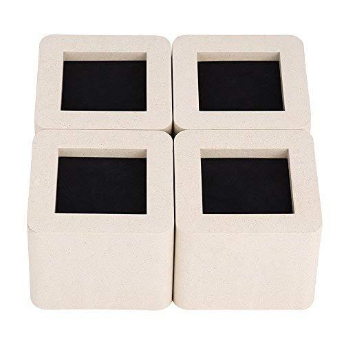 GOTOTOP Rialzi da Letto,Sollevatore rialzi per Letto Divano Riser,Supporti di Rialzo per mobili da 6.5cm,Supporti alza Letto Piedi per Mobili Piedini di Rialzo,in Legno (Confezione da 4) (Beige)