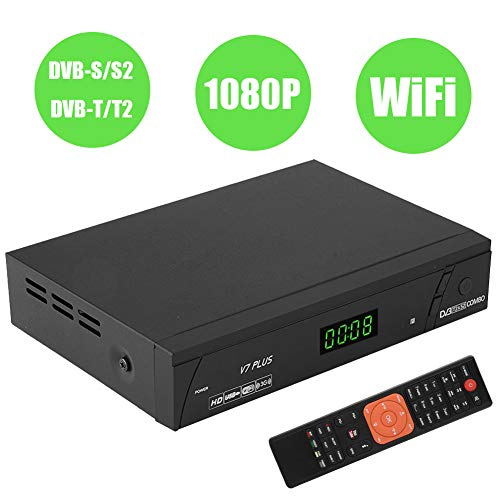Topiky 1080P HD DVB-S / S2 DVB-T / T2 Satelliten-TV-Receiver Digitaler Fernsehkonverter Box PAL/NTSC Sat-Empfänger Unterstützung PVR-Aufnahme/HDMI Out/WiFi(EU-Stecker)