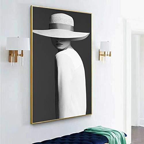 wZUN Chica de Moda en Blanco y Negro con Sombrero Pared Arte Lienzo Pintura Carteles nórdicos e Impresiones para Cuadros de decoración de Sala de Estar 50x100 Sin Marco