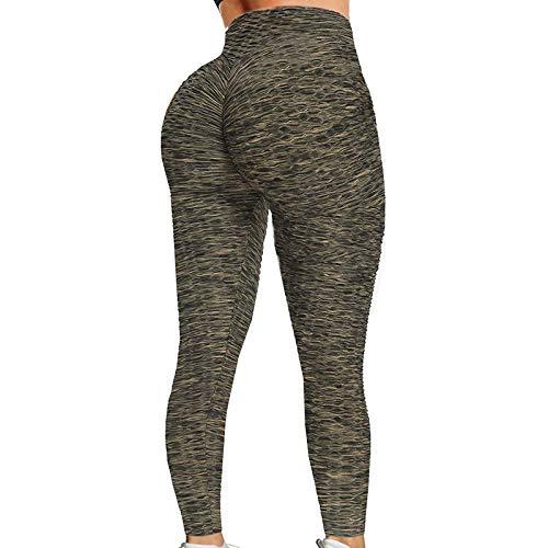 Liably Pantalones de yoga de cintura alta para mujer, para yoga, fitness, pilates, pantalones de deporte para mujer, leggings de celulitis, sin costuras, opacos, compresión verde XL