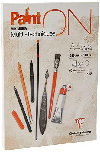 Clairefontaine 96537C - Un bloc encollé de papier dessin Paint'On 40 feuilles 21x29,7 cm 250g, Blanc