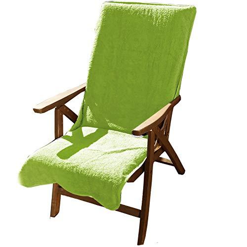 JEMIDI Frottee Schonbezug für Gartenstühle 100% Baumwolle Gartenstuhl 60cm x 130cm Frotteebezug Auflage Auflagenbezug Gartenstuhlbezug Schonauflage Bezug Auflagenbezug Grün