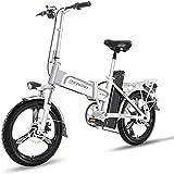 LOPP Bicicleta eléctrica Ebike, bicicleta eléctrica ligera con ruedas de 16 pulgadas con pedales, portátil Ebike 400 W de aluminio asistido eléctricamente, velocidad máxima de hasta 25 m