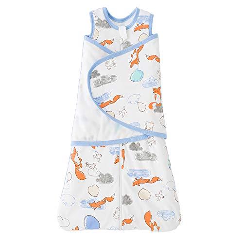 MIKAFEN Baby schlafsack für Sommer/Frühling, Niedlicher Tier Cartoon Schlafsack, Neues Design Ärmelloser Schlafsack 0,5 tog (M:Höhe 70cm-78cm, Red Fox)