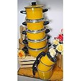 Kit 8 Peças - Panela Sophia de Alumínio Na cor Amarelo com Saída a Vapor + 3 Canecos
