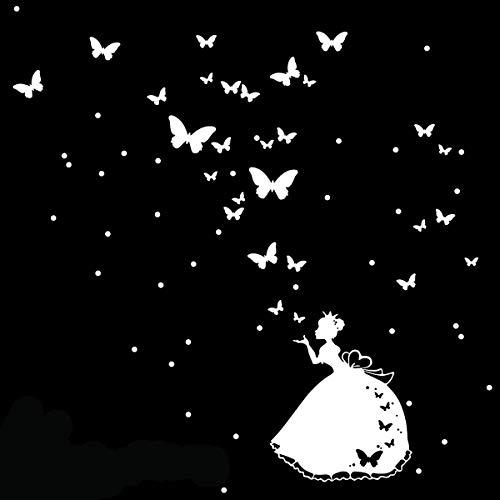 Stickers adhésifs Enfants | Sticker Autocollant Princesse des fées et papillons - Décoration murale chambre bébés | 55 x 55 cm - Blanc