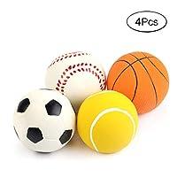 4 個 音の出るラテックスゴム犬おもちゃ ボールおもちゃ インタラクティブ噛むおもちゃ