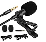 3.5mm Lapel Microphone, KOOPAO Omnidirectional Condenser Lavalier Mic with Clip for Apple iPhone Android Windows Computer Smartphone Interview YouTube Video Conference Podcast Voice Dictation