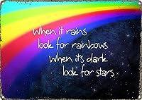 雨が降ったら虹を探します ヴィンテージスタイル メタルサイン アイアン ペインティング 屋内 & アウトドア ホーム バー コーヒー キッチン 壁の装飾 8 × 12 インチ