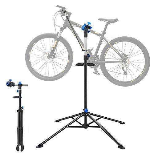 OUNUO fahrradmontageständer, Reparaturständer 360°drehbar und höhenverstellbar, Montageständer für Fahrräder mit Werkzeugablage und festem Stand, schwarz&blau …