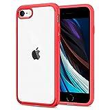 【Spigen】 iPhone SE ケース [第2世代] / iPhone8 / iPhone7 対応 背面クリア 米軍MIL規格取得 耐衝撃 すり傷防止 ワイヤレス充電対応 アイフォンSE (2020年モデル) アイフォン8 アイフォン7 カバー シュピゲン ウルトラ・ハイブリッド 042CS21724 (レッド)