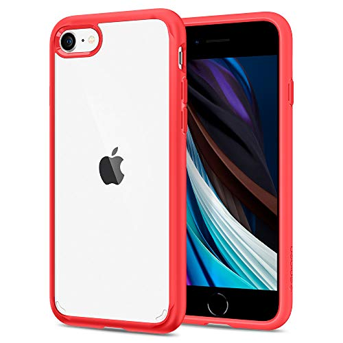 Spigen Funda Ultra Hybrid Compatible con iPhone SE 2020, Compatible con iPhone 8 y Compatible con iPhone 7 - Rojo