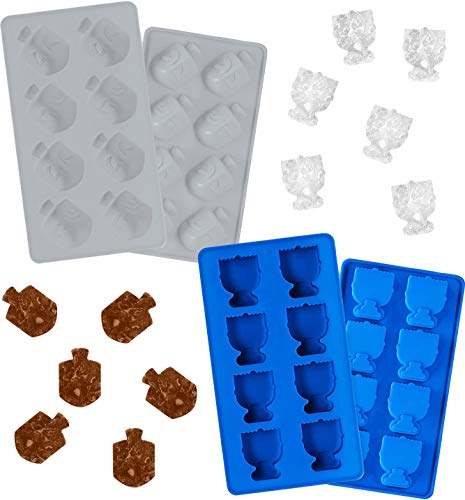 Hanukkah Silicone Ice Cube Mold Tray, Dreidel and Menorah Molds, Fun Cooking and Baking Holiday (2-Pack)