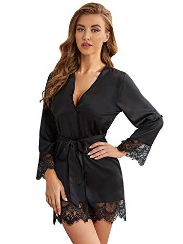 DIDK Damen Morgenmantel Bademantel Satin Sexy Kimono Kurz Robe mit Gürtel Nachthemd für Braut Nachtwäsche mit Blumenspitze Schwarz M