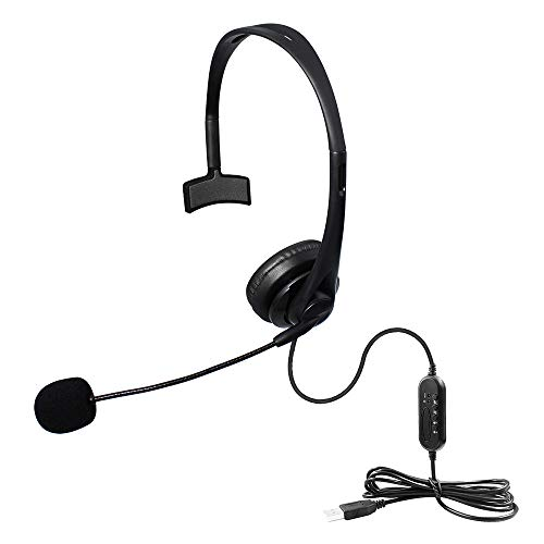 Megadream - Auricolari unilaterali con cavo USB, con microfono a cancellazione del rumore e controlli audio per PC, computer, UC, Skype Lync, Softphone Call Center, Office Gaming, C