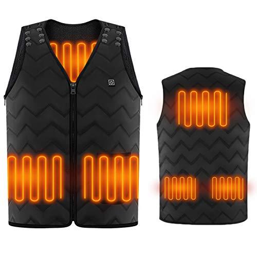 Vine Scaldamuscoli con gilet riscaldato per uomo e donna, cuscinetti riscaldanti incorporati da 5 pezzi per escursionismo all'aperto, motociclismo, golf, campeggio