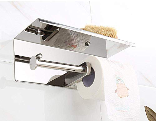 Gulakey Shelf of Tissue Paper Towel Holders Toilet Tissue Box 304 Stainless Steel Mobile Phone Holder Toilet Tissue Box Double Roll Holder Holder for Toilet Paper Wall-mounted