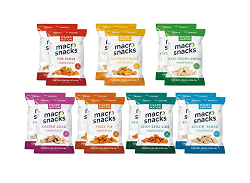 Macro Snacks Gluten Free Plant Based High Protein Chips, Variety Pack, 7 Flavors, 14 total bags