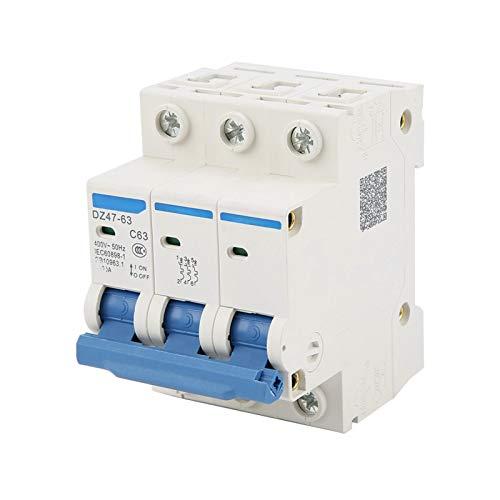 Disyuntor, disyuntor de corriente residual, DZ47-63 3 polos 63A RCCB disyuntor de corriente residual 220 / 380V