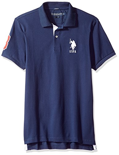 Photo of U.S. POLO ASSN. Men's Short Sleeve Slim Fit Solid Pique Polo Shirt, Classic Navy Kjbj, Large