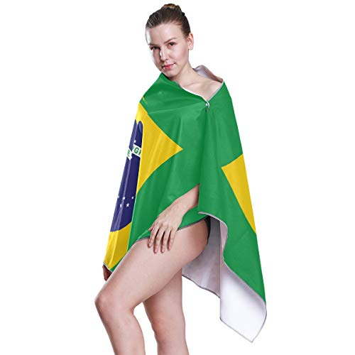 Chic Houses Toalla de playa de la bandera de Brasil de gran tamaño, ultra suave, sin arena, microfibra de secado rápido, manta de playa 2030095