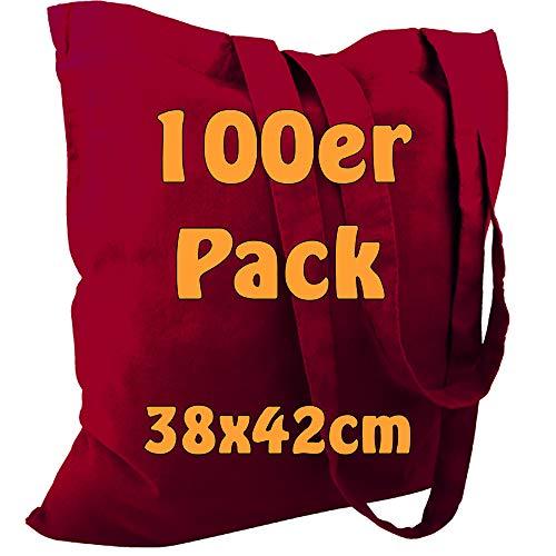 Cottonbagjoe Baumwolltasche Jutebeutel unbedruckt mit Zwei Langen Henkeln 38x42cm (Bordeaux, 100 Stück)