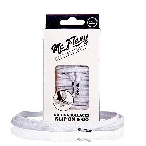 Mc Flexy Flache Elastische Schnürsenkel – Einmal Binden und Jeder Schuh wird zum Slipper (Weiss, 120cm)