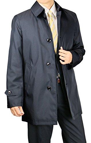 スプリングコート メンズ ビジネスコート 軽量 花粉つかない 軽い 着脱ライナー キルティングライナー 撥水 417661 【2】濃紺 L