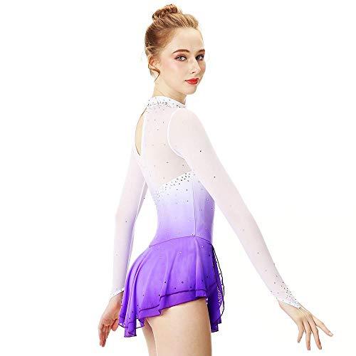 Eiskunstlauf-Kleid-Frauen-Mädchen Eislaufen Kleid Violet Halo Färben Spandex Stretch-Garn Lace hohe Elastizität Beruf,M
