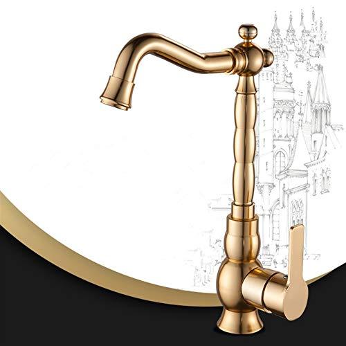 AXWT Oro Alta Sección Espacio Aluminio Frío Calor Girar Faucet Faucet Lavabo Corto Lavabo Hogar Sin Plomo Grifo Baño Grifo Grifo (tamaño : Alto)