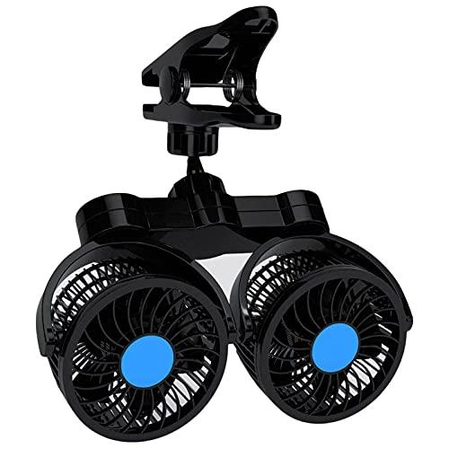 Ventola per auto a doppia testa, ventola elettrica per camion per auto 2 velocità con ventola, ventola di raffreddamento girevole a 360° con presa accendisigari per veicoli SUV berlina