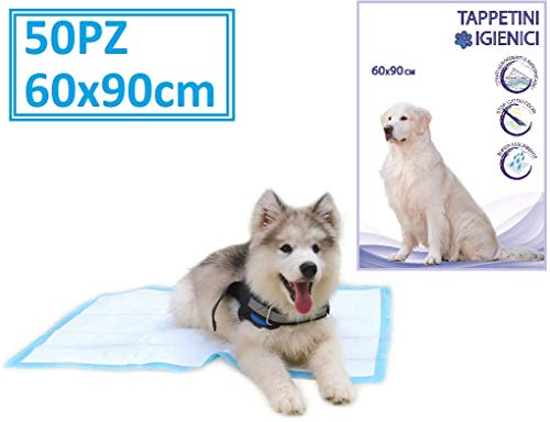 BPS PET SHOP TAPPETINI IGIENICI per Cani, TAPPETINI ASSORBENTI con ANTIODORE per Animali Domestici (60x90cm 50PEZZI)