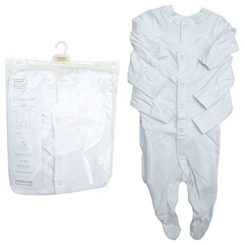 Ex Chain-store New Babygrow Poppers Todo en Uno 3X Mothercare Bebé Blanco Pijama Algodón Unisex Blanco blanco 3-6 meses/8 kg