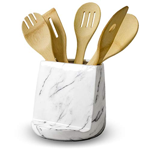 Two-in-One Ceramic Marble Utensil Holder and Tablet Stand | Kitchen Utensil Crock Cookbook and Tablet Holder