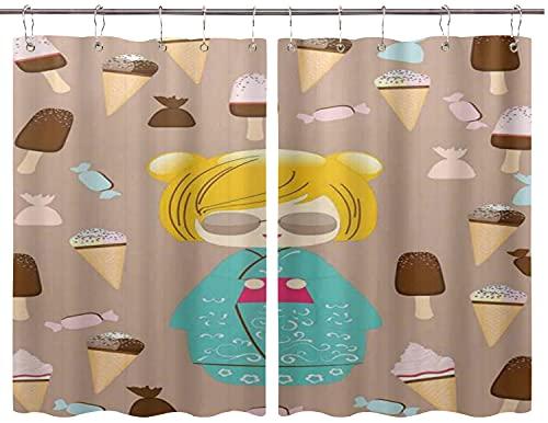 JISMUCI Cortinas para Cocina Ilustración única de muñeca de Verano Japonesa Kokeshi con Delicioso Helado y Dulces Dulces Cortinas de Ventana Ganchos de Metal 2 Paneles para café de casa 140x100CM