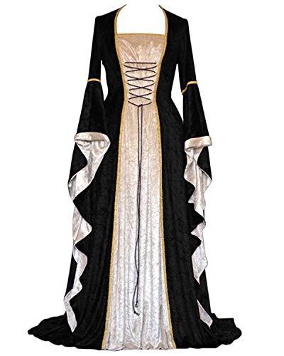 BITSEACOCO Medieval Renaissance Gown Dress for Women, Adjustable Lace up Irish Retro Gown Long Dress Halloween Costumes (XXX-Large, Black)