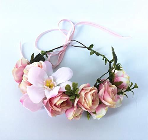 Shunbao, Rose Fleur Hairband Couronne Filles Floral Bandeau Guirlandes Accessoires De Cheveux Mariage Mariée Bohème Fleur Guirlande Femmes Tête Wear (